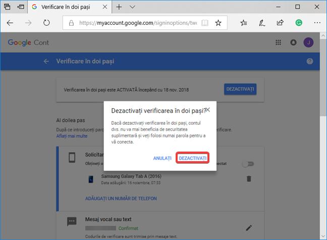 Confirmarea dezactivării Verificării în doi pași pentru contul tău Google