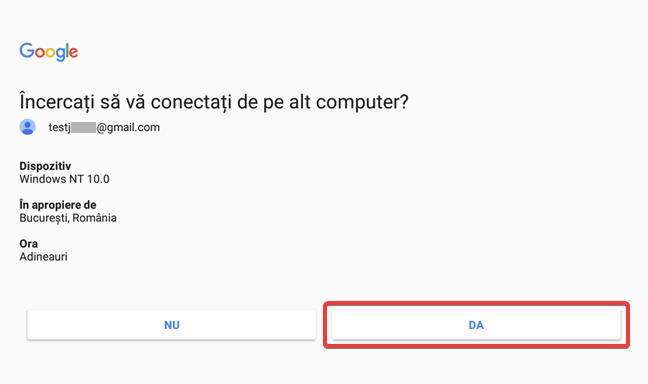 Validează întrebarea de la Google pentru Verificarea în doi pași