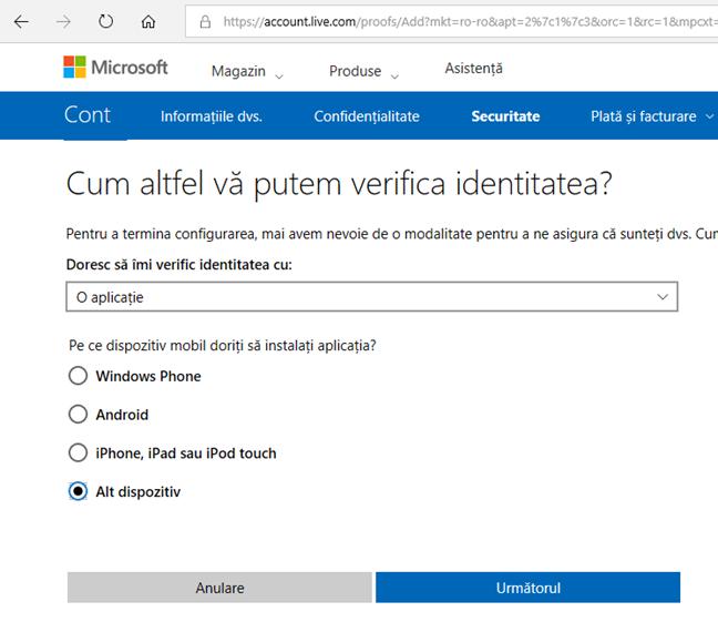 Microsoft, verificare, doi pasi