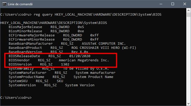 Află versiunea și data de BIOS folosind reg query