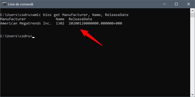 Află versiunea și data BIOS-ului din Linia de comandă folosind wmic