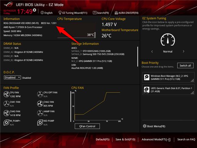 Verificarea versiunii de BIOS utilizate de o placă de bază ASUS ROG