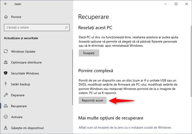 Opțiuni de Pornire complexă disponibile în Windows 10