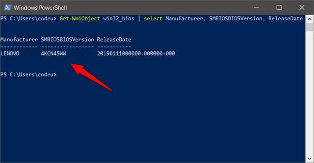 Cum verifici versiunea și data BIOS-ului din PowerShell