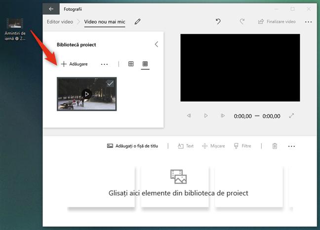 Trage clipul video peste fereastra Editor video