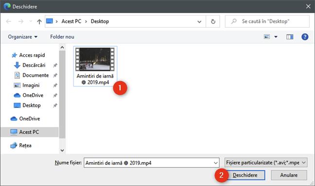 Selectarea fișierului video de micșorat