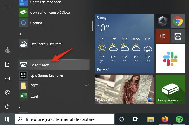 Scurtătura Editor video din Meniul Start al Windows 10