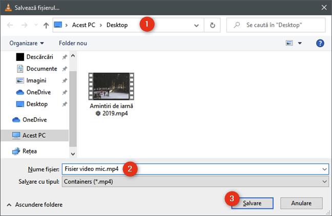 Selectarea locului de salvare a fișierului video mai mic