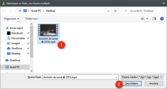 Selectarea videoclipului de micșorat