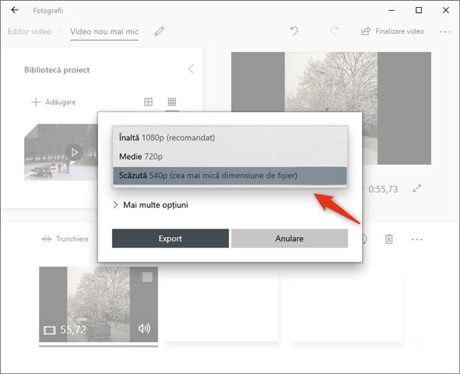 Selectarea unei rezoluții mai mici pentru fișierul video
