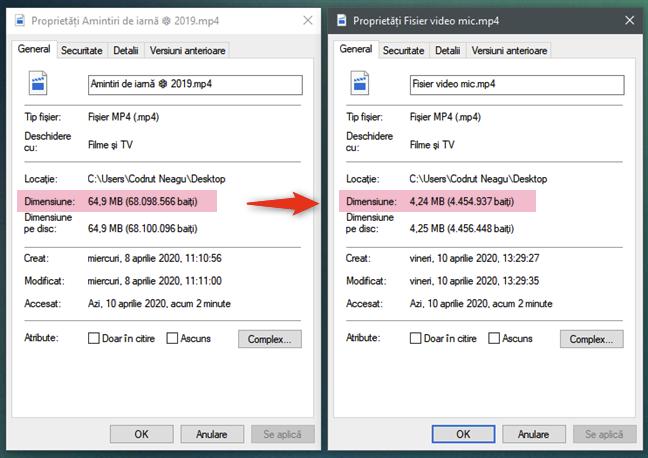 Fișierul video comprimat este mai mic decât videoclipul original