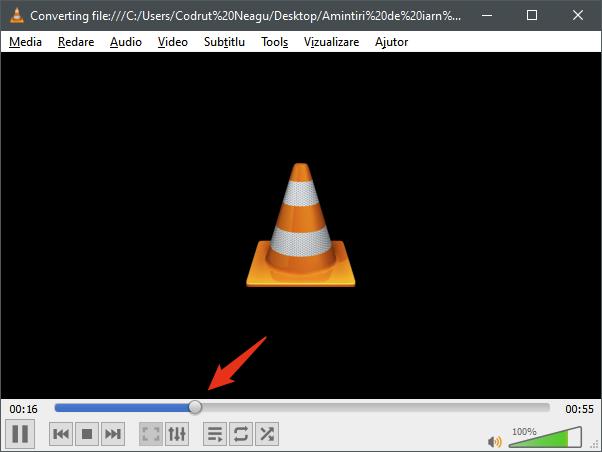 Monitorizarea conversiei video în VLC