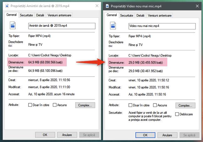 Fișierul video convertit este mai mic decât cel original
