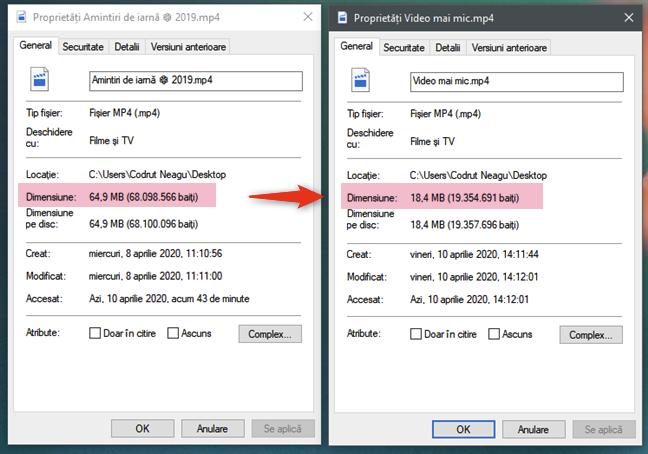 Fișierul video convertit este mai mic decât originalul