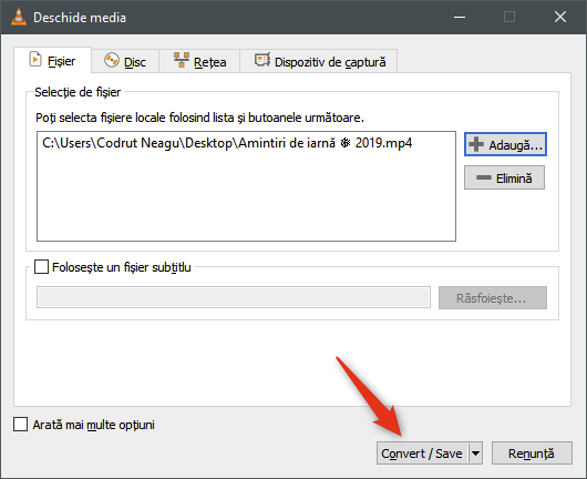 Butonul Conversie / Salvare din fereastra VLC Deschide media