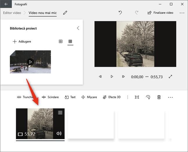 Tragerea videoclipului din biblioteca proiectului peste storyboard