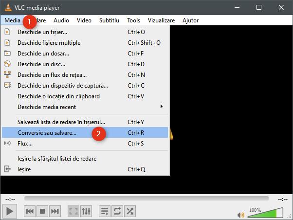 Opțiunea Conversie sau salvare din meniul Media al VLC