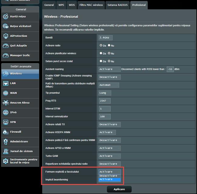 Firmware-ul ASUS - Activează formarea explicită a fasciculului wireless