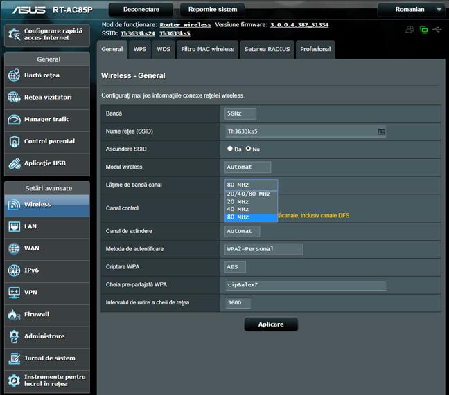 Firmware-ul ASUS - Alege lățimea de bandă pentru canalul wireless