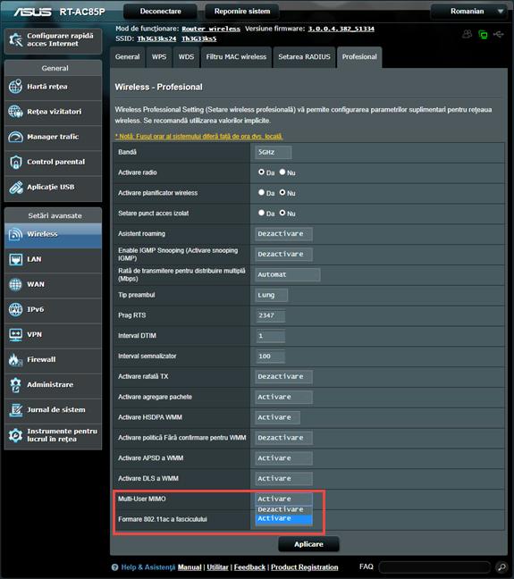 Firmware-ul ASUS - Activează MU-MIMO