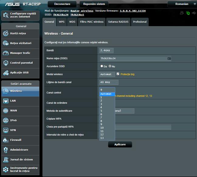 Firmware-ul ASUS - Alege canalul folosit de rețeaua wireless