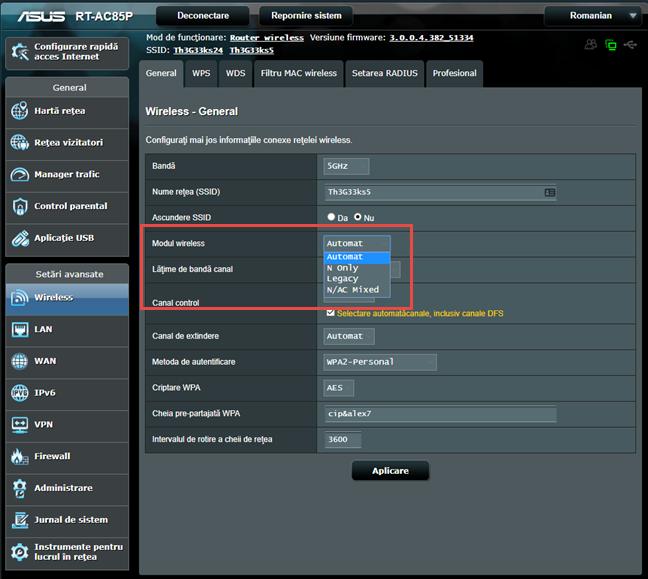 Firmware-ul ASUS - Alege modul wireless folosit