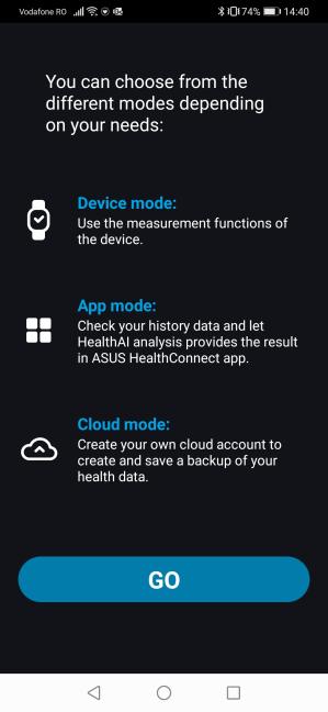 Configurarea aplicației ASUS HealthConnect