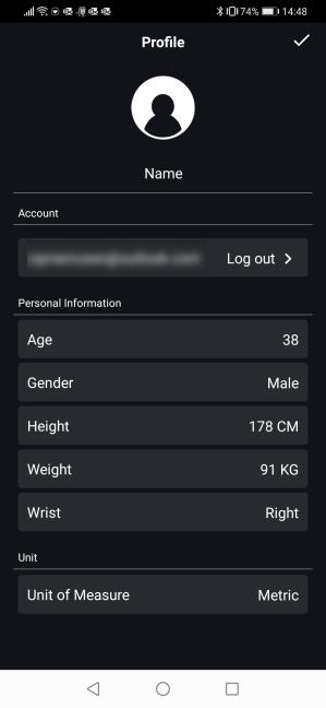 Editarea profilului tău în aplicația ASUS HealthConnect