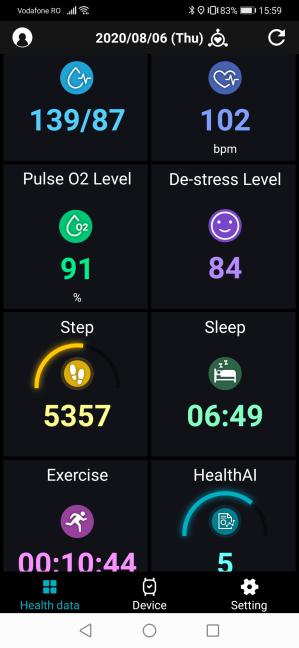 Ecranul principal al aplicației ASUS HealthConnect