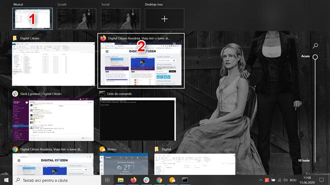 Ține mouse-ul deasupra unui desktop virtual desktop și selectează fereastra pe care vrei s-o accesezi