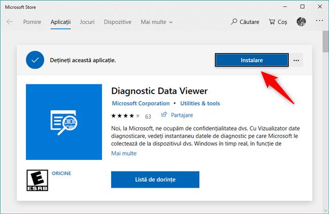 Instalarea aplicației Vizualizator date diagnosticare din Magazinul Microsoft