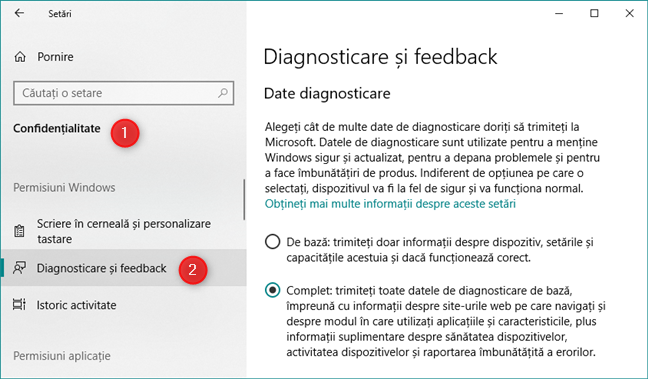 Setările Diagnosticare și feedback din Windows 10