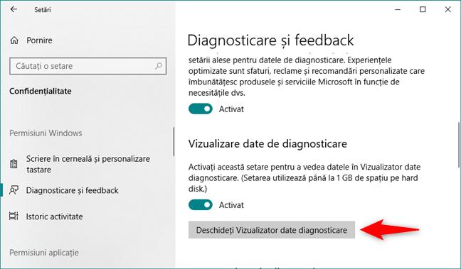 Deschiderea aplicației Vizualizator date diagnosticare