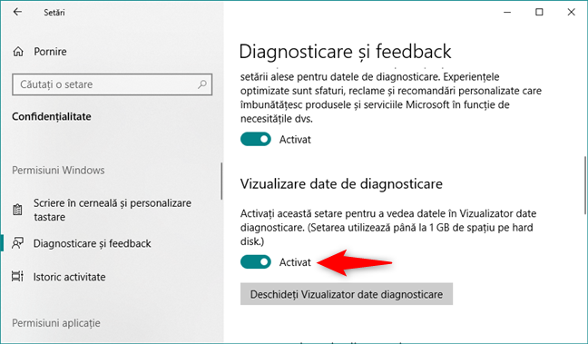 Activarea comutatorului de Vizualizare date de diagnosticare din Windows 10