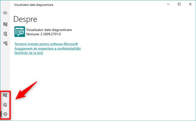 Pagina de Setări ai aplicației Vizualizator date diagnosticare din Windows 10