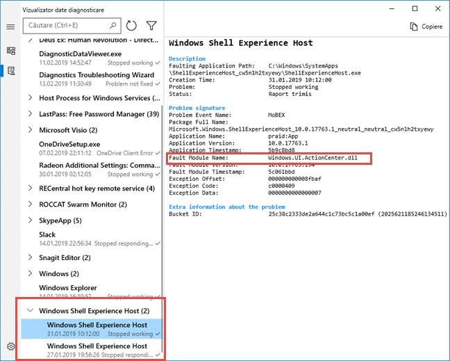 Erori Windows Shell Experience Host
