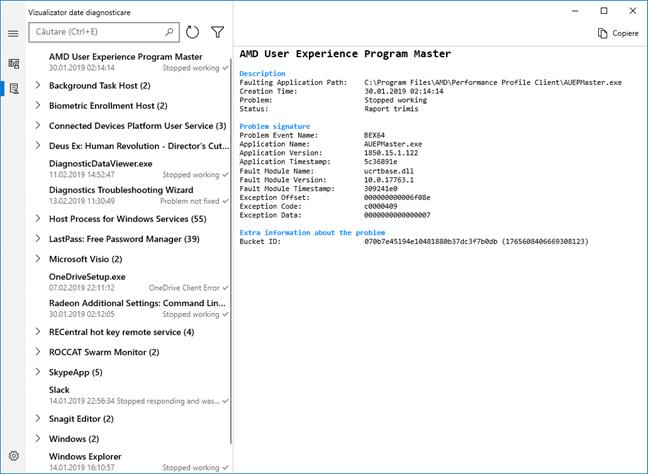 Vizualizator Date Diagnosticare pentru Windows 10