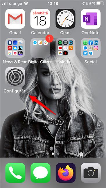 Aplicația Configurări din iOS