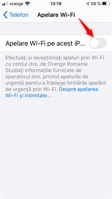 Comutatorul Apelare Wi-Fi pe acest iPhone