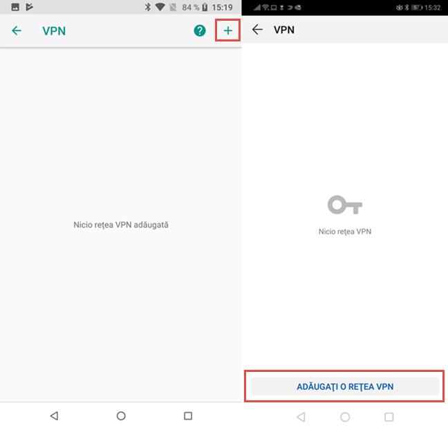 Apasă pe butonul pentru adăugarea unui VPN în Android
