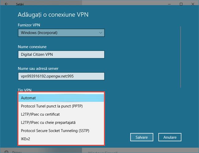 Crearea unei conexiuni VPN în Windows 10