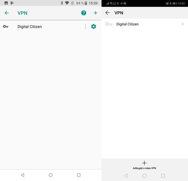 Conexiunile VPN configurate în Android