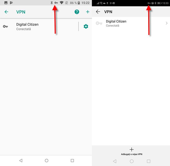 Cum îți dai seamă că ești conectat(ă) la VPN în Android