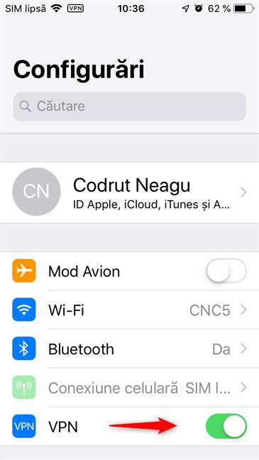 Comutatorul VPN din setările unui iPhone