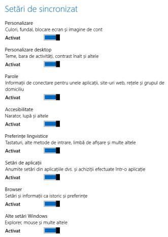 Windows 8, Setări PC, sincronizare, setări, comutatoare, activare, dezactivare