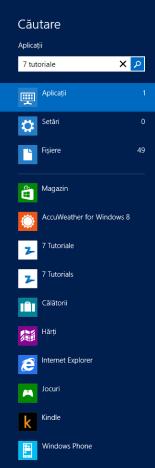 Căutare, Aplicații, Windows 8