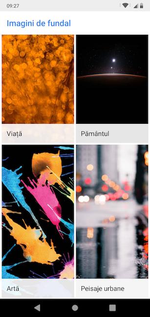 Galeria aplicației Google Imagini de fundal este organizată pe categorii