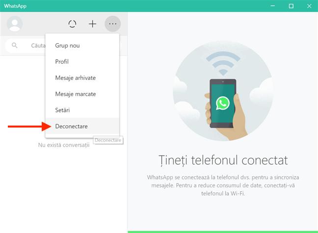 Alege Deconectare ca să deconectezi contul de WhatsApp