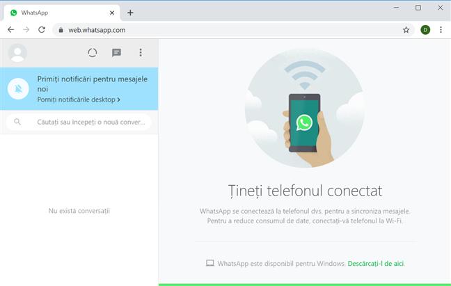 Folosește WhatsApp din browserul tău