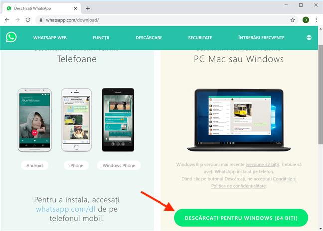 Este ușor să descarci WhatsApp Desktop de pe pagina oficială